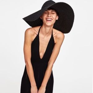 Zara Woven Black Retro Floppy Hat